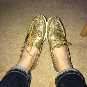 Gold Sparkle Sperry's;